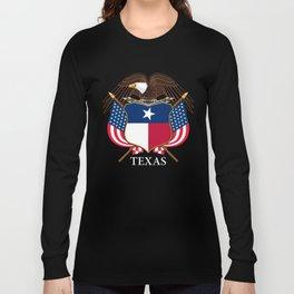 Texas flag and eagle crest - original design by BruceStanfieldArtist Long Sleeve T-shirt