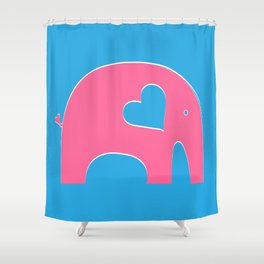 Pink and Blue Elephant Shower Curtain