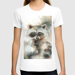 Racoon Colorful Watercolor Loose Style Painting T-shirt