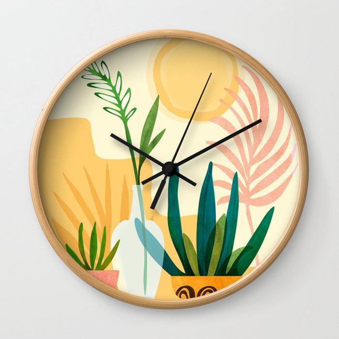 Sunshine Terrace - landscape illustration Wall Clock