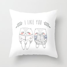 I like you cat Throw Pillow