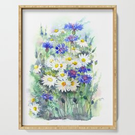 Watercolor chamomile and cornflowers Serving Tray