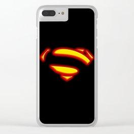 Superman Hope Symbol Logo black background Clear iPhone Case