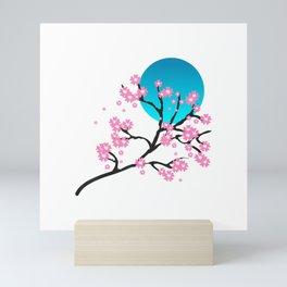 Japanese Sakura Art Pink Cherry Blossom Festival Blue Moon T-Shirt Mini Art Print