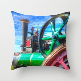 Clayton and Shuttleworth Traction Engine Art Throw Pillow