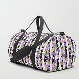 Colorful polka dots on black and white striped background . Duffle Bag