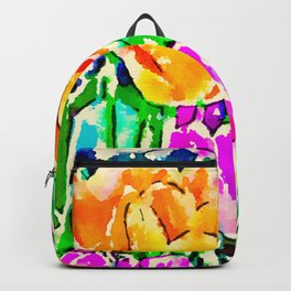 Pink and Yellow Tulips Backpack