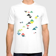 Triangles White SMALL Mens Fitted Tee