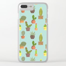 Potted Desert Garden Clear iPhone Case