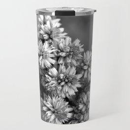 Black and White Floral Tiny Cobwebs on Flowers - Macro Close Up Travel Mug