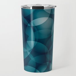 Dark intersecting heavenly translucent circles in bright colors with the blue glow of the ocean. Travel Mug