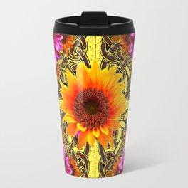 YELLOW SUNFLOWER PURPLE FLORAS CELTIC ART Travel Mug