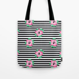 poppies stripes Tote Bag