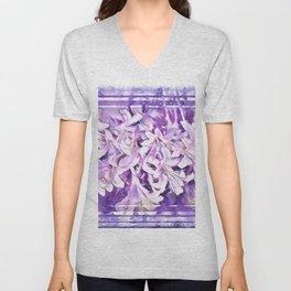 Honeysuckle in Violet and Pink Tones Unisex V-Neck