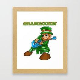Shamrockin_ Leprechaun Guitarist St Patricks Framed Art Print