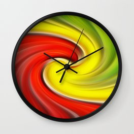 Twirl Red Green Gold Wall Clock