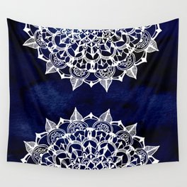 White Lace Medallion on Ink Blue Wall Tapestry