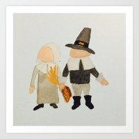 toddler Art Prints featuring Thanksgiving Pilgrim Toddler Girl and Boy Couple by PodArtist