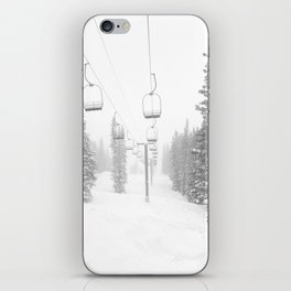 Empty Chairlift // Alone on the Mountain at Copper Whiteout Conditions Foggy Snowfall iPhone Skin