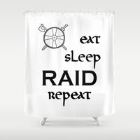 vikings Shower Curtains featuring eat-sleep-RAID-repeat black, Vikings by ZsaMo Design