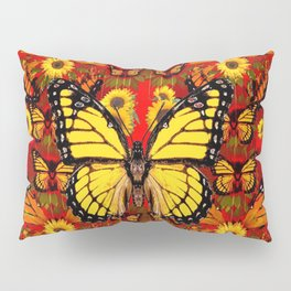 COFFEE BROWN MONARCH BUTTERFLY SUNFLOWERS Pillow Sham