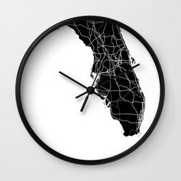 Florida Black Map Wall Clock