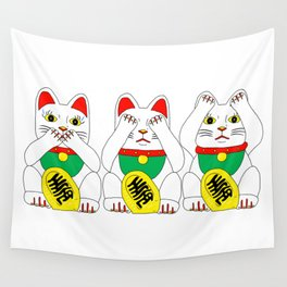 Three Wise Lucky Cats Wall Tapestry