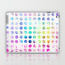 Girly pink teal blue watercolor polka dots pattern Laptop & iPad Skin