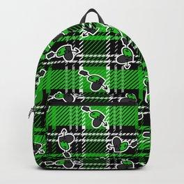 Cute punk pierced heart on plaid background pattern. Backpack
