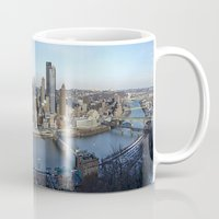 pittsburgh Mugs featuring PITTSBURGH CITY by Stephanie Bosworth