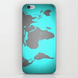 World MAp Turquoise Aqua & Gray iPhone Skin