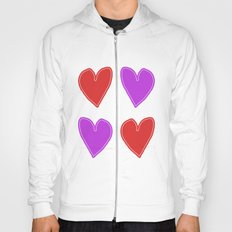 Red and Purple Hearts - 4 hearts Hoody