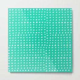 Turquoise Scribble Dots Metal Print