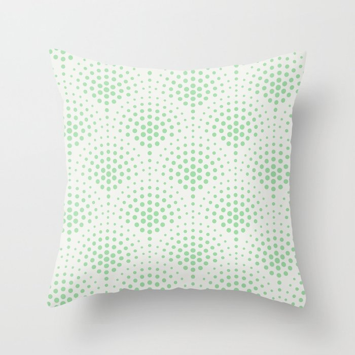 Pastel Mint Green Polka Dot Scallop Pattern on Off White Coloro 2020 Color of the Year Neo Mint Throw Pillow