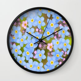 Forget-me-not flowers and buds - summer meadow Wall Clock