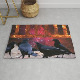 Crows lunch Rug