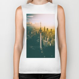 Golden Light Cityscape (Color) Biker Tank