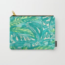 Turquoise & Lime Leaves Carry-All Pouch