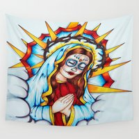 day of the dead Wall Tapestries featuring Day Of The Dead  by Kim Shady