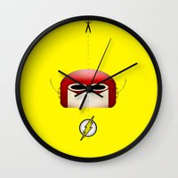 the flash Wall Clocks featuring Flash by Oblivion Creative