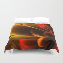 Stylized Half Flower Red Duvet Cover