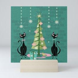 Vintage Kitty Christmas  Mini Art Print