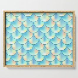 Teal Green Mermaid Pattern, Holographic Fish Scale Print Serving Tray