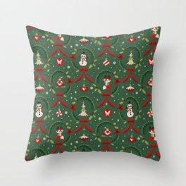 Winter Friends (Green) Throw Pillow
