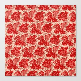 Pegasus Pattern Beige and Red Canvas Print