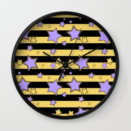 Purple stars on black and yellow striped Wall Clock