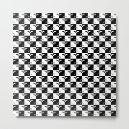 Black and White Checkerboard Scales of Justice Legal Pattern Metal Print