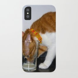 Funny Cat Drinking from Glass iPhone Case