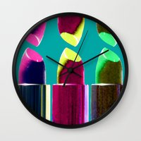 lipstick Wall Clocks featuring Lipstick  by aldarwish