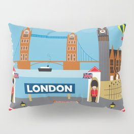London, England - Collage Illustration by Loose Petals Pillow Sham